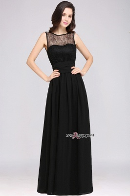 Jewel Black Keyhole Elegant Sheath Lace Floor-length Chiffon Evening Gown_1