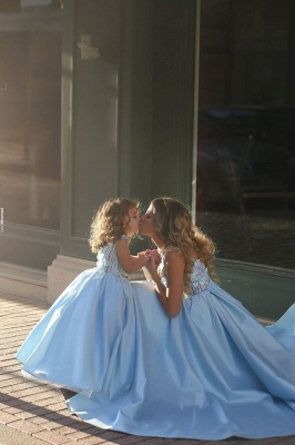 Newest Flowers Straps A-line Mother And Daughter Prom Dress UK Ball Gown BA4321_4