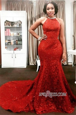 Red Halter Long-Train Sleeveless Pearls-Chain Sparkly Mermaid Amazing Open-Back Prom Dress UK_2