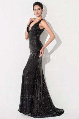 Elegant V-Neck Mermaid Sequins Evening Dress UK Sweep Train_3