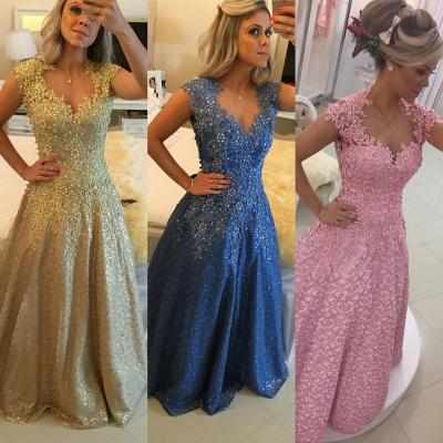 Gorgeous Cap Sleeve Lace Appliques Prom Dress UKes UK Floor Length Formal Wear_4