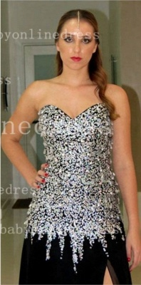 Rhinestone Long Black Prom Dress UKes UK Vestidos Dress UK New Sweetheart Top Crystal Chiffon Side Slit Gowns_3