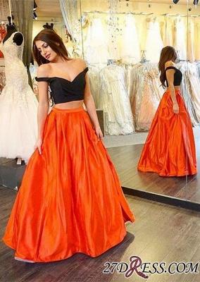 Elegant Two-Piece Long A-line Off-the-shoulder Prom Dress UK_2