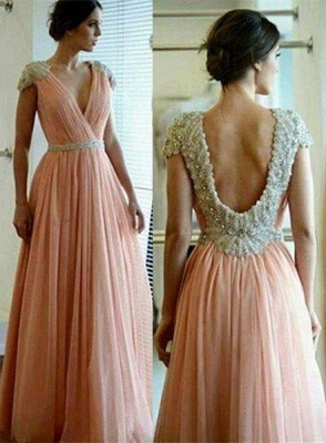 Sexy A-line Lace Appliques Prom Dress UK V-neck Beadings_1
