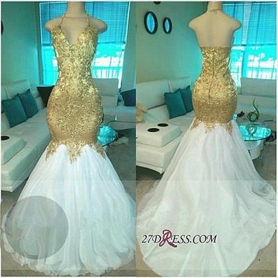 Mermaid Open-Back V-neck Elegant Beading Gold Prom Dress UKes UK BA5332_1
