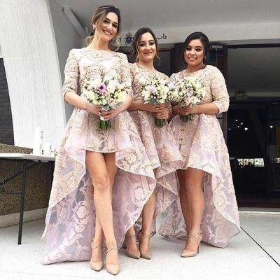 Luxury Half-Sleeve Lace Bridesmaid Dress UK Hi-Lo Dress UK_4