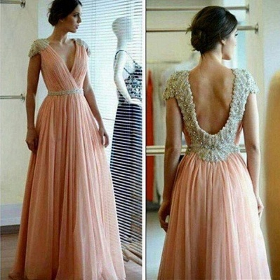 Sexy A-line Lace Appliques Prom Dress UK V-neck Beadings_3