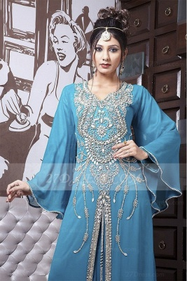 Beading Long Sleeve Prom Dress UKes UK with Blue Chiffon Vintage Evening Scoop Crystal Floor-length Gowns_2