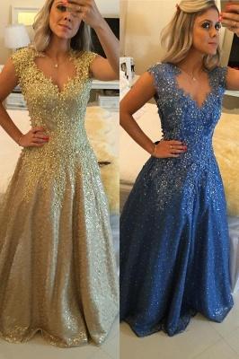 Gorgeous Cap Sleeve Lace Appliques Prom Dress UKes UK Floor Length Formal Wear_1