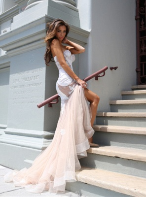 Sweetheart Lace Evening Dress UK with Mermaid Tulle Luxury_2