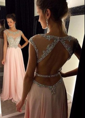Luxury Scoop Long Chiffon Prom Dress UK Crystals Open Back AP0_1
