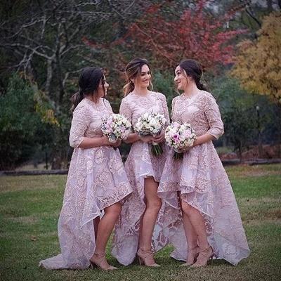 Luxury Half-Sleeve Lace Bridesmaid Dress UK Hi-Lo Dress UK_3