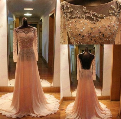 Luxury Long Sleeves Beadings Prom Dress UK Chiffon Long Party Gown_2