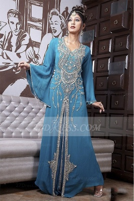 Beading Long Sleeve Prom Dress UKes UK with Blue Chiffon Vintage Evening Scoop Crystal Floor-length Gowns_1