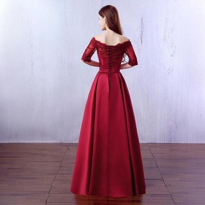 Gorgeous Burgundy Half-Sleeve Evening Dress UK Lace Long CPS388_3