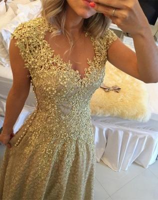Gorgeous Cap Sleeve Lace Appliques Prom Dress UKes UK Floor Length Formal Wear_3