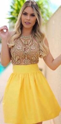 Charming Yellow Beadings Halter Short Homecoming Dress UK_1