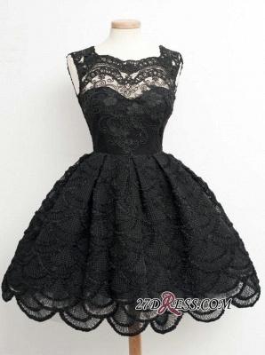 Knee-Length Little Dress UKes UK Lace Short Black Homecoming Dress UK_4