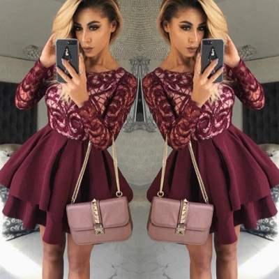 Sexy Long-Sleeve Burgundy Homecoming Dress UK | Short Prom Party Dress UK On Sale_3