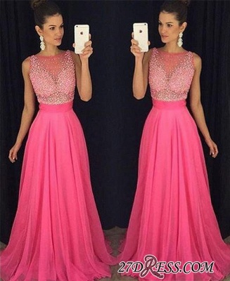 Newest Sleeveless Fuchsia Tulle A-Line Beadings Prom Dress UK_2