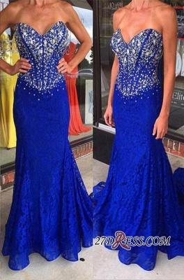 Sweetheart Mermaid Crystal Sweep-Train Lace Royal-Blue Prom Dress UKes UK_2