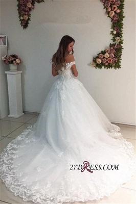 Off-the-Shoulder Lace Appliques A-Line Strapless White Wedding Dresses UK_1