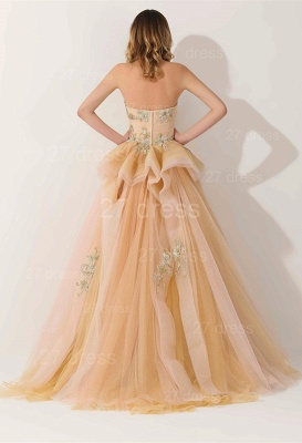 Newest Strapless Princess Tulle Evening Dress UK Lace Appliques_2