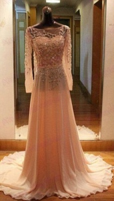 Luxury Long Sleeves Beadings Prom Dress UK Chiffon Long Party Gown_1