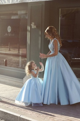 Newest Flowers Straps A-line Mother And Daughter Prom Dress UK Ball Gown BA4321_2