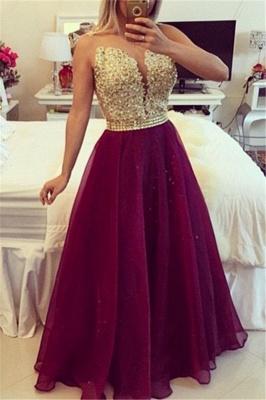 Elegant V-neck Sleeveless Prom Dress UK Beadings Crystals Floor-length_1
