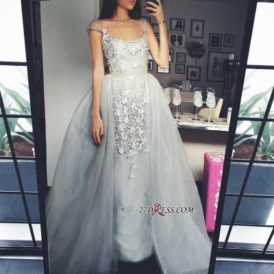 Sexy A-Line Scoop Appliques Cap-Sleeves Tulle Prom Dress UK_1