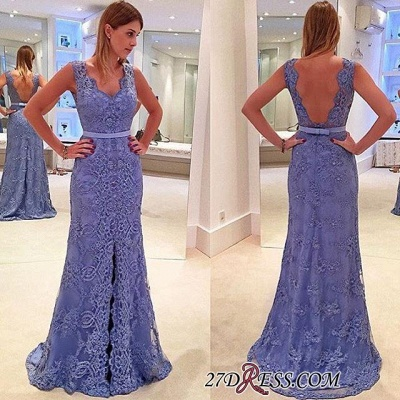 Delicate Front-Split Sleeveless A-line Straps Lace Prom Dress UK_1