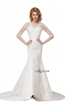 V-Neck Lace Elegant Zipper Half-Sleeves Sexy Mermaid Wedding Dresses UK_3