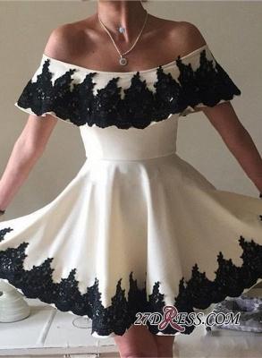 Lace A-line Mini Modern Zipper Off-the-shoulder Homecoming Dress UK_4