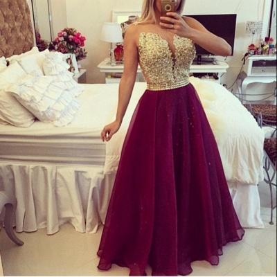 Elegant V-neck Sleeveless Prom Dress UK Beadings Crystals Floor-length_2