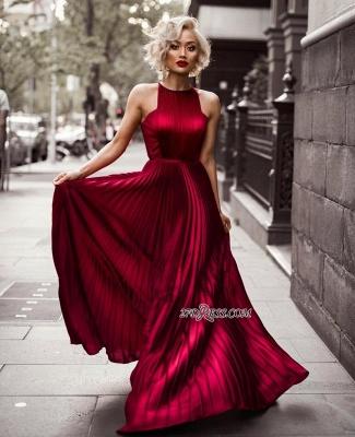 Prom Dress UKes UK Length Burgundy Floor Jewel Sheath Sleeveless Pleats Evening Dress UKes UK_1