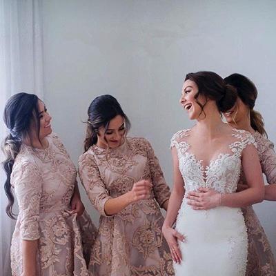 Luxury Half-Sleeve Lace Bridesmaid Dress UK Hi-Lo Dress UK_5