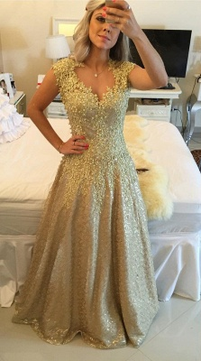 Gorgeous Cap Sleeve Lace Appliques Prom Dress UKes UK Floor Length Formal Wear_6