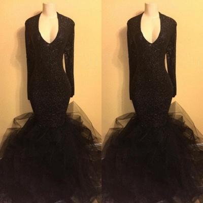 Elegant black sequins prom Dress UK, ruffles evening Dress UK BA8155_3