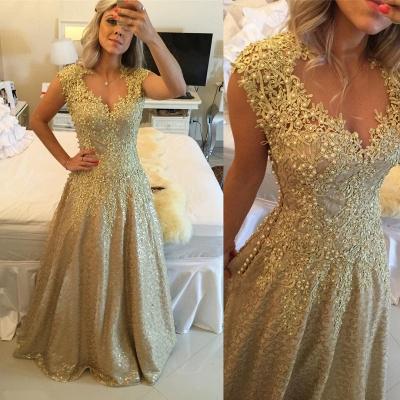 Gorgeous Cap Sleeve Lace Appliques Prom Dress UKes UK Floor Length Formal Wear_5