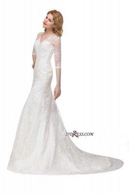 V-Neck Lace Elegant Zipper Half-Sleeves Sexy Mermaid Wedding Dresses UK_2