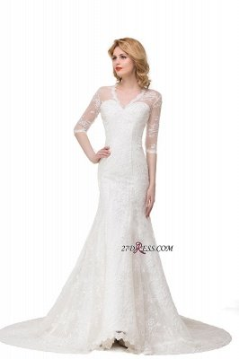V-Neck Lace Elegant Zipper Half-Sleeves Sexy Mermaid Wedding Dresses UK_5