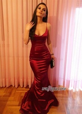 Elegant Spaghetti-Strap Prom Dress UK | Red Sleeveless Evening Party Dress UK_3