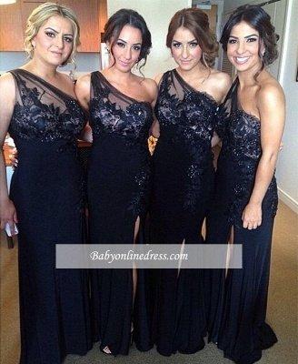 Cheap Floor-length Sheath-Column One-Shoulder Split-Front Appiques Bridesmaid Dresses_1