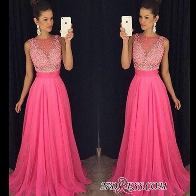 Newest Sleeveless Fuchsia Tulle A-Line Beadings Prom Dress UK_1