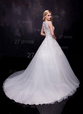 Modern Lace Appliques Wedding Dress Tulle Court Train_2