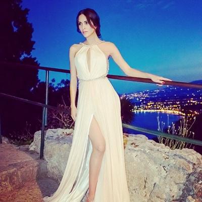 Luxury Sleeveless Front Split Long Evening Dress UK With Beadings_2