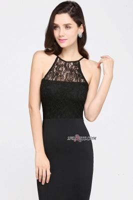 Chiffon Elegant Keyhole Mermaid Jewel Lace Sleeveless Black Evening Gown_5