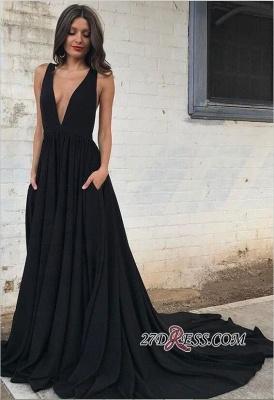 Sleeveless V-neck Straps Elegant Backless A-line Black Prom Dress UK sp0342_4