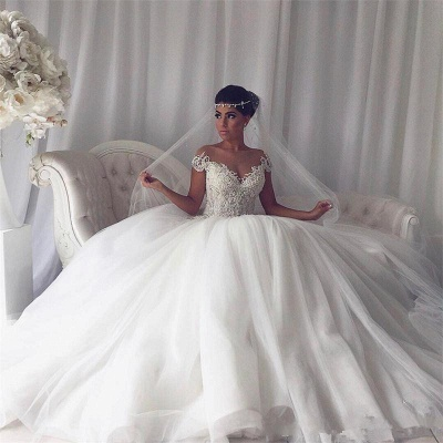 Modest Ball Gown Lace Off-the-shoulder Wedding Dress | Ivory Bridal Gown_4